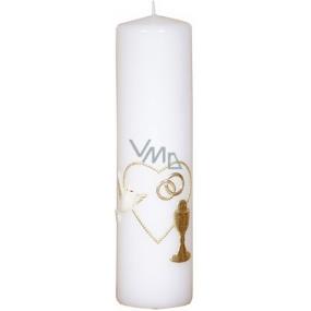 Lima Svatební svíce Srdíčko a prstýnky oltářní svíčka bílá válec 60 x 220 mm