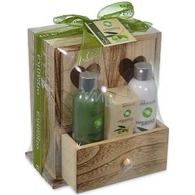 Idc Institute Organica Olive Oil sprchový gel 120 ml + tělové mléko 120 ml + mýdlo 90 g v dřevěné krabičce, kosmetická sada