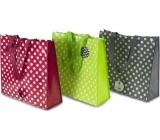 RSW Nákupní taška s potiskem Puntíky bordó 43 x 40 x 13 cm