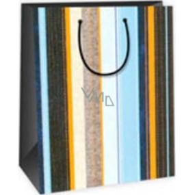 Ditipo Dárková papírová taška velká modro hnědo oranžové svislé pruhy 26,4 x 13,6 x 32,7 cm DAB