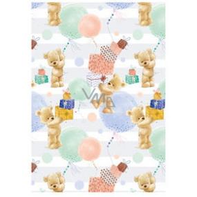 Ditipo Balicí papír bílo-zelený, medvídci, dárky 100 x 70 cm 2 kusy