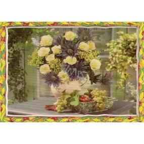 Nekupto Pohlednice Žluté růže s fialovými květy