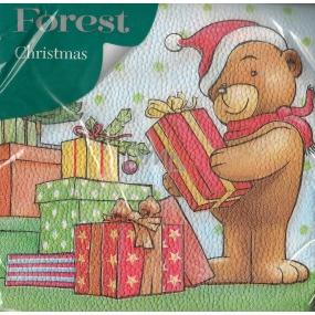 Forest Vánoční papírové ubrousky Medvídek s dárky 1 vrstvé 33 x 33 cm 20 kusů
