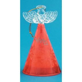 Anděl skleněný s barevnou sukní červená 10 cm