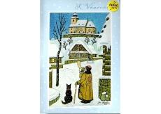 Albi Hrací přání do obálky Josef Lada K Vánocům Tichá noc Karel Gott 14,8 x 21 cm
