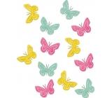 Motýli dřevění žlutá, zelená, růžová 4 cm 12 kusů