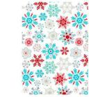 Ditipo Dárkový balicí papír 70 x 150 cm Vánoční bílý barevné vločky