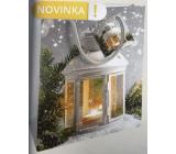 Nekupto Dárková papírová taška 23 x 18 x 10 cm Vánoční stříbrná lucerna WBM