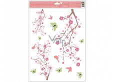 Okenní fólie 3 větve růžové květy, zelení motýli s glitry 30 x 42 cm