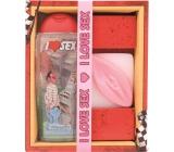 Bohemia Gifts & Cosmetics Urbanova sexi kosmetika I Love Sex sprchový gel 300 ml + Vagína ručně vyráběné toaletní mýdlo 110 g, kosmetická sada