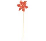 Větrník s velkými puntíky oranžový 9 cm + špejle 1 kus