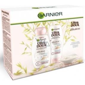 Garnier Ultra Doux Délicatesse jemný, zklidňující šampon pro jemné vlasy 250 ml + balzám pro jemné vlasy 200 ml, kosmetická sada