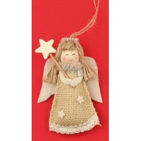 Anděl jutový na zavěšení hvězda na špejli 10 cm