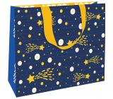 Nekupto Dárková papírová taška luxusní 30 x 23 cm Modrá s kometou Vánoční WLFL 1997