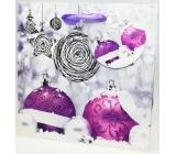 Epee Dárková papírová taška 17 x 17 x 7,5 cm Vánoční Fialové baňky CD LUX malá