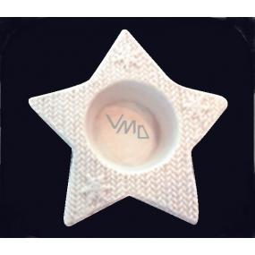 Svícen hvězda z porcelánu na svíčku 12 cm