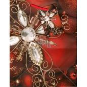 Anděl Taška vánoční dárková červená, skleněná vločka M 23 x 18 x 10 cm