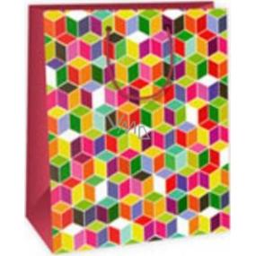 Ditipo Dárková papírová taška velká barevné čtverečky 26,4 x 13,6 x 32,7 cm AB