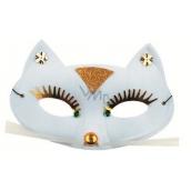 Škraboška plesová kočka bílá 17 cm