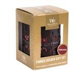 WoodWick Pomegranate - Granátové jablko vonná svíčka s dřevěným knotem petite 3 x 31 g + Bronzová sněhová vločka  svícen dárkový set
