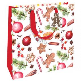 Nekupto Dárková papírová taška luxusní 23 x 23 cm Vánoční perníčky WLIM 1975