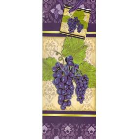 Nekupto Dárková papírová taška na láhev 33 x 10 x 9 cm fialová hrozen 438 40 ALH