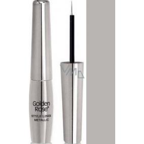Golden Rose Style Liner Metallic Eyeliner tekuté oční linky 07 stříbrná 6,5 g