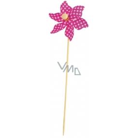 Větrník károvaný fialový 9 cm + špejle 1 kus