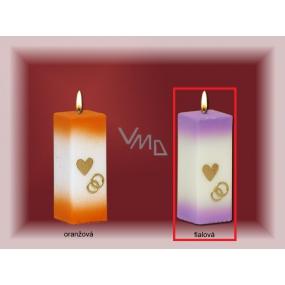 Lima Svatební svíce Srdíčko a prstýnky svíčka fialová hranol 60 x 120 mm