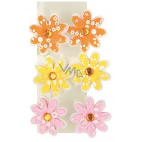 Květinky z filcu 4 cm na klipu 6 kusů v sáčku