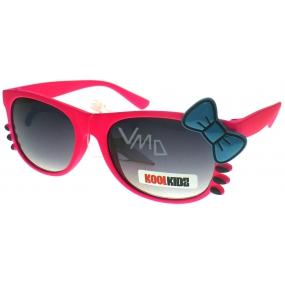 Dudes & Dudettes kategorie 3 sluneční brýle pro děti JK419 růžové - modrá mašlička