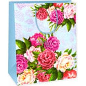 Ditipo Dárková papírová taška 26,4 x 13,7 x 32,4 cm světle modrá kytky AB