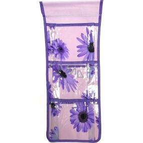 Kapsář do koupelny závěsný fialový 46 x 18,5 cm 3 kapsy 669