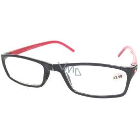 Berkeley Čtecí dioptrické brýle +3 černé červené stranice 1 kus MC2 ER4045