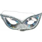 Škraboška hologramová kočičí oči stříbrná vhodná pro dospělé