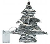 Emos Stromek proutěný 30 x 30 x 8 cm, 30 LED studená bílá + 30 cm kabel-na baterie