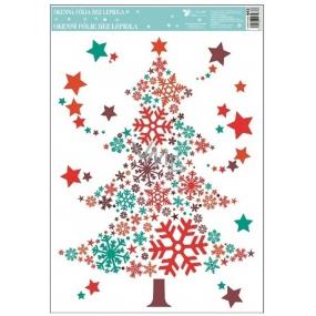Room Decor Okenní fólie bez lepidla barevná, stromeček z vloček 33,5 x 25,5 cm
