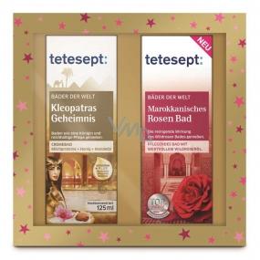 Tetesept Kleopatřino tajemství krémová koupel 125 ml + Marocká růžová lázeň pečující koupelový olej koncentrát 125 ml kosmetická sada