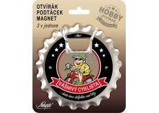 Nekupto Hobby 3v1 otvírák, podtácek, magnet Vášnivý cyklista 10 cm