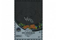Antistresové relaxační černé omalovánky zvířata 21 x 30 cm, 4 kusy