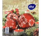 Aha Papírové ubrousky 3 vrstvé 33 x 33 cm 20 kusů Vánoční Červené baňky se záplatami