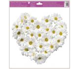 Okenní fólie bez lepidla Srdce z květů Chryzantény 30 x 33,5 cm