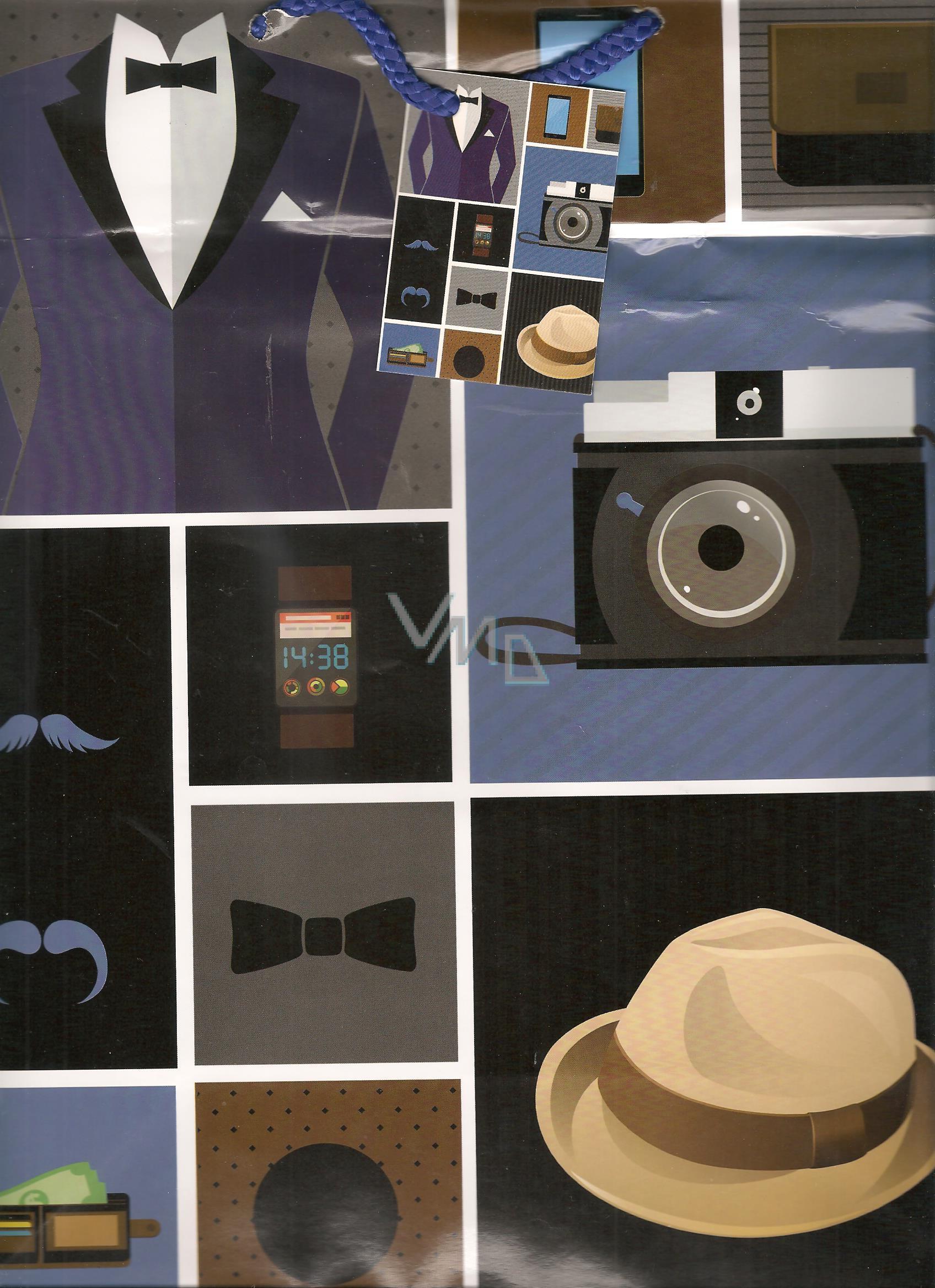 Nekupto Dárková papírová taška velká 32,5 x 26 x 13 cm Pánský oblek 1 kus 844 40 BL