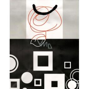 Nekupto Dárková papírová taška střední BM Šedočerná bílý čtverec 23 x 18 x 10 cm