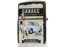 Bohemia Gifts & Cosmetics Retro zapalovač kovový benzínový s potiskem Garage 5,5 x 3,5 x 1,2 cm