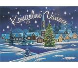 Nekupto Pohlednice s glitrem Vánoční vzor 2 Kouzelné Vánoce 15 x 11 cm