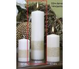 Lima Stuha svíčka perlová - zlatá válec 60 x 220 mm 1 kus