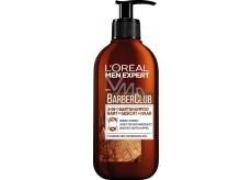 Loreal Paris Men Expert BarberClub Beard Face & Hair Wash 3v1 gel pro denní peči o tvář, vousy a vlasy dávkovač 200 ml