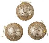 Baňky zlaté s glitry na zavěšení 8 cm, 3 kusy