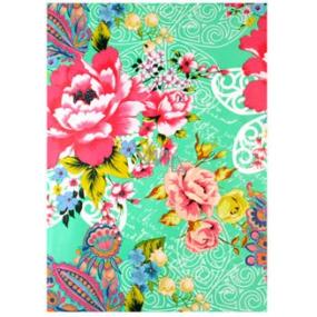 Ditipo Balicí papír zelený, barevné květy 2 m x 70 cm